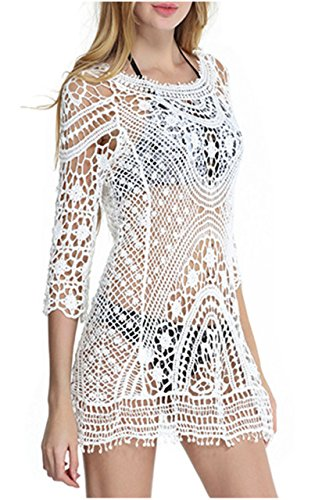 Women Summer Crochet Beachwear White - 6
