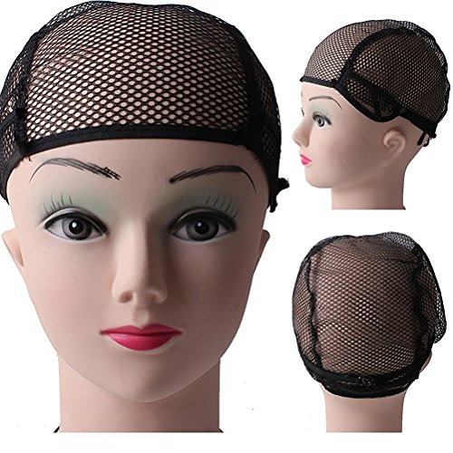 Pixnor 10pcs Hair Wig Weaving Stretchable Net Mesh Fishnet Elastic Snood Cap (Hair Weaving Net)