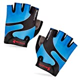 BOODUN Cycling Gloves with Shock-absorbing Foam Pad Breathable Half Finger Bicycle Riding Gloves Bike Gloves B-001, Blue, Medium