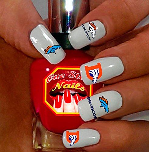 Denver Broncos water-slide nail -