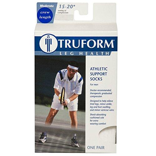 Truform 1932, Cushion Foot Compression Socks, Crew Length, 15-20 mmHg, White, Medium (Pack of 2)