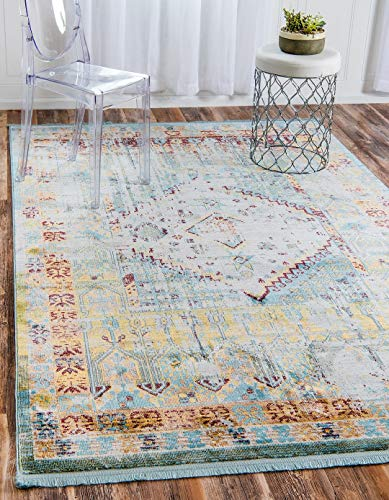 - Light Blue 4' 3 x 6' Feet St. Tropez Collection Traditional and Modern Area Rugs and Carpet, Home Decorations Area Rugs Floor Mats