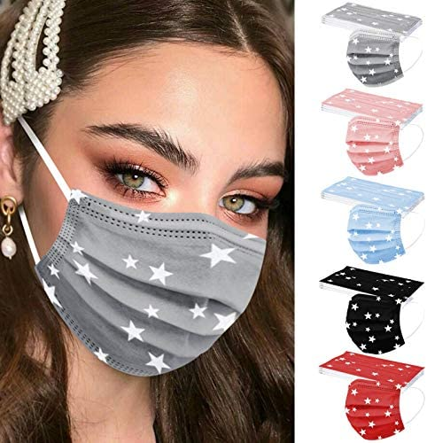 【USA in Stock 】 50 PCS Adults Face Masks Star Pattern Disposable Face Covering Cloth Face Protection for Women and Men, Fashion Unisex Outdoor Breathable Industrial Ear Loop Face Fabric