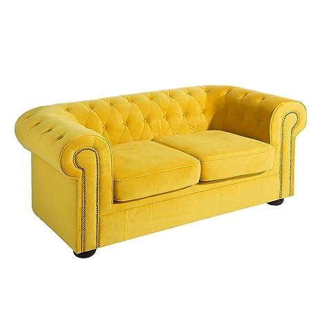 Sofá Chester tapizado en Terciopelo Amarillo de 2 plazas ...