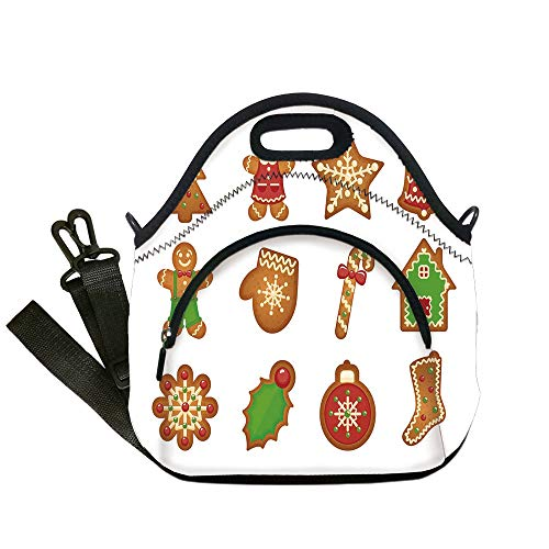 Insulated Lunch Bag,Neoprene Lunch Tote Bags,Gingerbread Man,Various Biscuits in Different Shapes Delicious Bakery Goodies,Light Brown Green Red,for Adults and children -