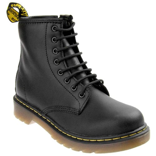 Upper Zip Dr and Cushioned Boots Air Lace with Junior Up Martens Sole Unisex Kids Leather Side Delaney; YYwFq1