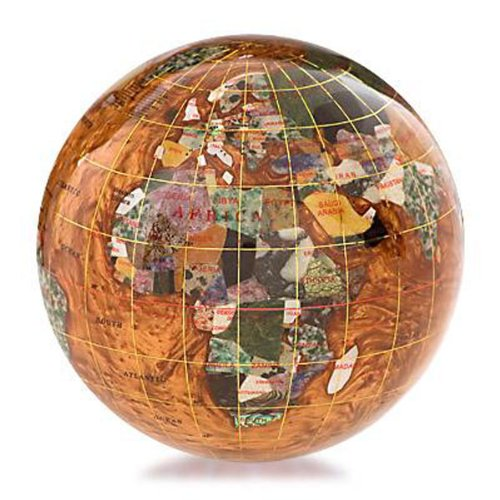 Gemstone Globe Paperweight with Opalite Ocean Color: Copper Amber, Size: 4