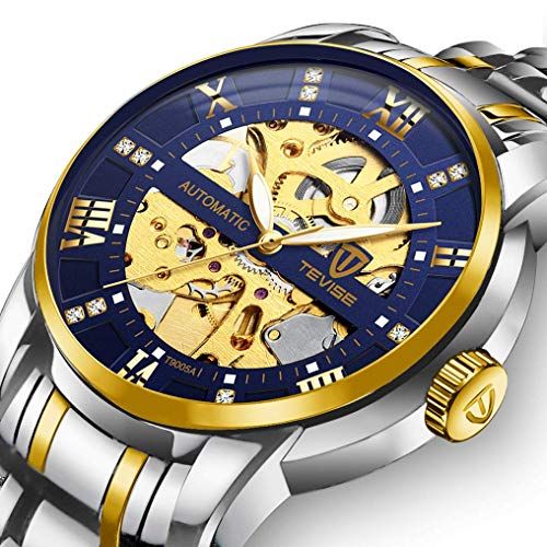 Men's Watch Luxury Mechanical Stainless Steel Skeleton Waterproof Automatic Self-Winding Luminous Diamond Dial Wrist Watch Gold Blue ()