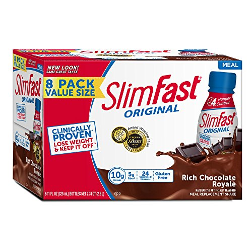 Slim Fast Original weight loss Meal Replacement RTD shakes with 10g of protein and 5g of fiber plus 24 Vitamins and Minerals per serving, Rich Chocolate Royale, 8 Count (Pack of 3)