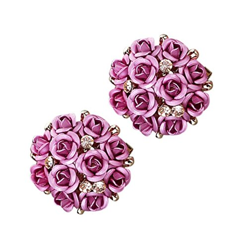 ManxiVoo Bohemia Rhinestone Rose Ear Stud Earrings Women Floral Earrings Jewelry Post Stud (Pink)