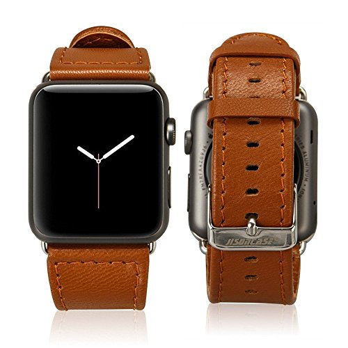 Jisoncase 38MM Apple Watch Band Genuine Lambskin Leather iWatch Replacement Watchbands with Classic Buckle for Apple Watch Sport Edition, Brown (For 38MM Version) TC-AW3-17L20