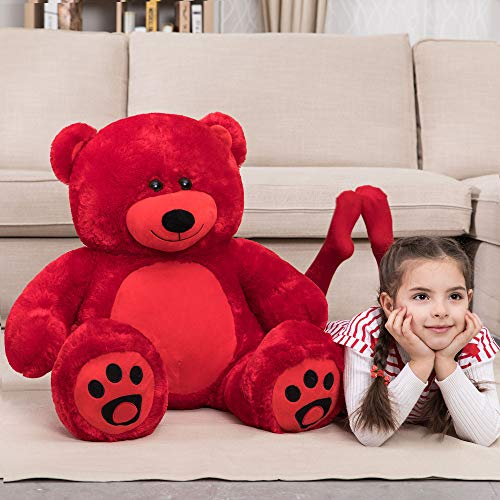 WOWMAX 3 Foot Giant Teddy Bear Daney Cuddly Stuffed Plush Animals Teddy Bear Toy Doll for Birthday Christmas Red 36 Inches from WOWMAX