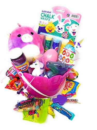 Kids Girl DIY Premade Gift Set for Happy Easter Birthday ALL THINGS UNICORN Squishmallow Basket Egg Stuffers Goodie Bag Bubbles Unicorn Slime Unicorn Lipgloss Unicorn Pen Bundle & Assorted Candy Girls ()