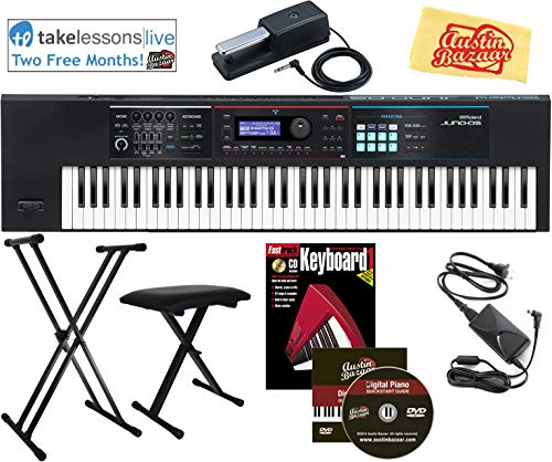 Roland Juno DS-76 Synthesizer Bundle with Roland DP-10 Damper Pedal, Adjustable Stand, Bench, Fast Track Piano Book, Instructional DVD, 2 Months Online Lessons, and Austin Bazaar Polishing Cloth