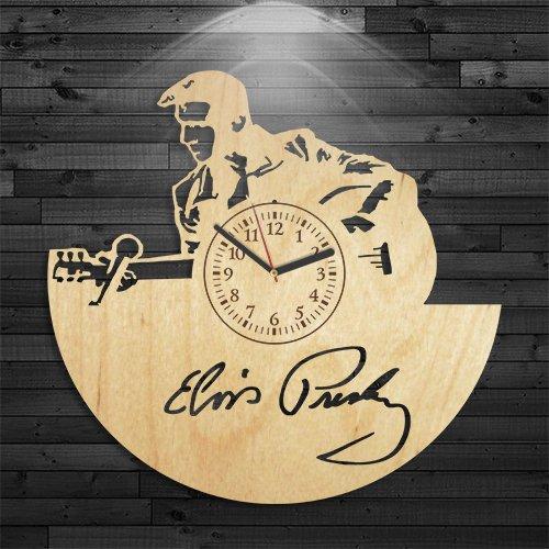 Elvis Presley Vintage Clock (Elvis Presley Wood Clock, Rock n Roll Music Clock, Wall Clock Vintage, Music Gift For Boy, Wall Clock Modern, Gift For Woman, Elvis Presley Birthday Gift, Gift For Men, Singer Wooden Clock)