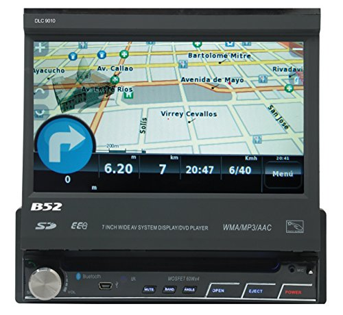 B52CarAudio DLC-9010 Single-Din 7'' Digital LCD Display DVD Player with Touch Screen, Bluetooth, Aux Input, Wireless Remote, SD/USB Receiver, Ipod Ready and GPS Ready (Maps Software Not Included)