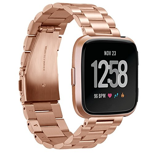 for Fitbit Versa Bands Rose Gold Stainless Steel Metal Bracelet Replacement Wristband Accessories Strap by autulet
