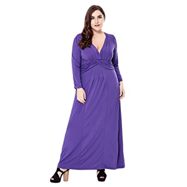 Image Unavailable. Image not available for. Color  EbuyChX Sexy Plunge Neck  Long Sleeve Solid Color Plus Size Women Maxi Dress ... febc2edd1