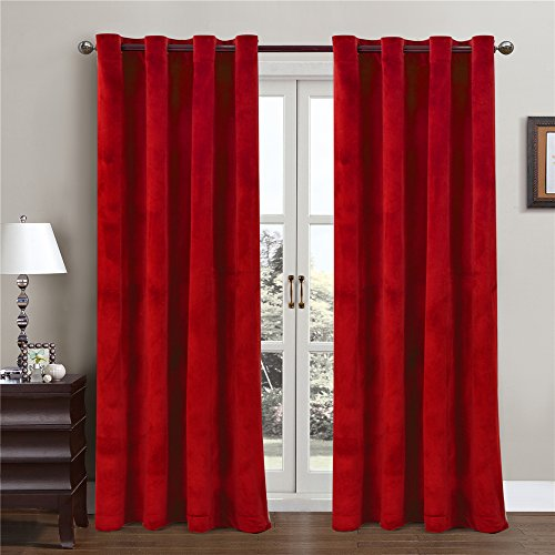 Comforhome Solid Soft Velvet Window Curtain Grommets Drapes Red 52