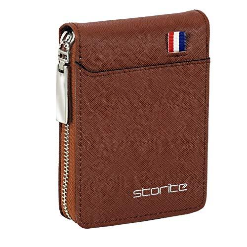 Storite 9 Slot Vertical PU Leather Credit Debit Card Holder Money Wallet Zipper Coin Purse (Light Brown)