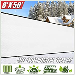 ColourTree 8′ x 50′ White Fence Privacy Screen Windscreen Cover Fabric Shade Tarp Netting Mesh Cloth – Commercial Grade…