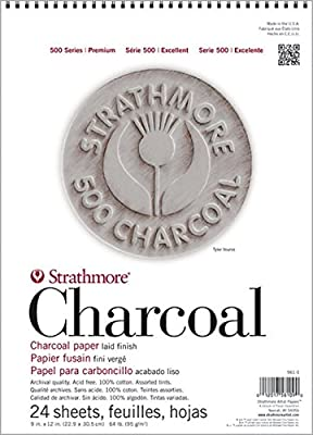 """Strathmore STR-560-2 24 Sheet White Charcoal Pad, 12 by 18"""""""