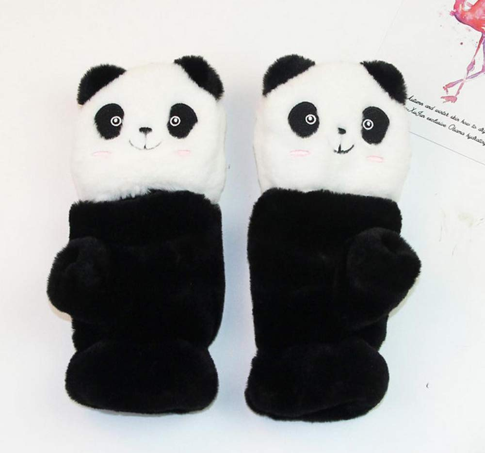 Vikea 1 Pair Winter Gloves Cute Cartoon Panda Half Gloves with Removable Flap Gloves for Lady and Little Girls
