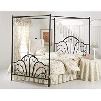 hillsdale furniture 348bqp dover bed set with canopy and legs queen textured black - Iron Canopy Bed Frame