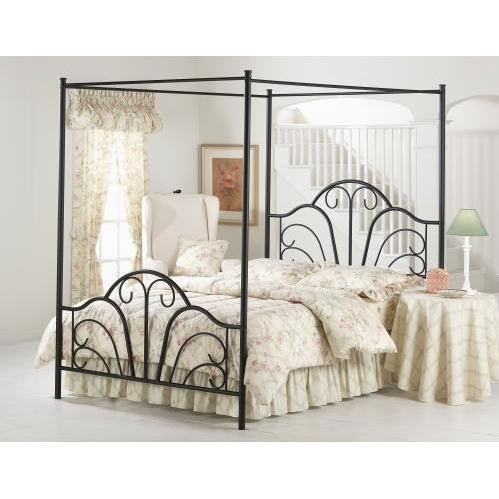 Hillsdale Furniture 348BFP Dover Bed Set with Canopy and Legs, Full, Textured Black