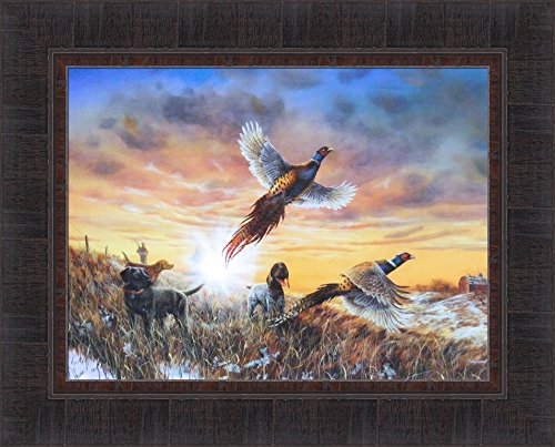 (Opening Day by Jim Hansel 17x21 Pheasants Hunting Dogs Framed Art Print Wall Décor Picture)