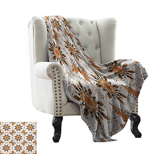 - homehot Bedroom Warm Blanket Floral,Blue Jeans Background with White Flower Motifs Pattern Denim Themed Digital Print,Blue White 90