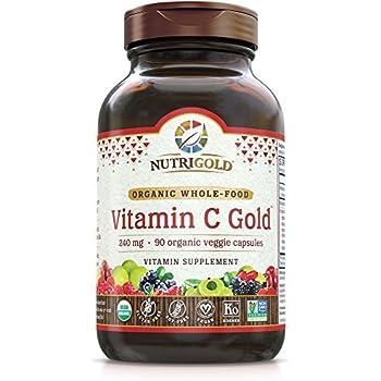 NutriGold Organic Whole-Food Vitamin C 240 mg 90 organic veggie capsules
