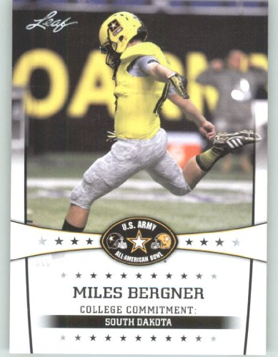 2013 Leaf Army All-American Football Card #75 Miles Bergner P - South Dakota (RC - Rookie Card) First Licensed Trading Card