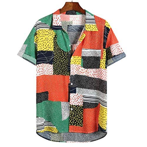 SSDXY Casual Men's Loose Turn Collar Print Contrast Geometric Short-Sleeved Button Down Shirt Top Blouses