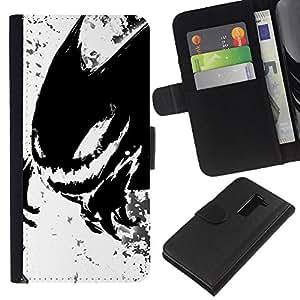 NEECELL GIFT forCITY // Billetera de cuero Caso Cubierta de protección Carcasa / Leather Wallet Case for LG G2 D800 // Monstruo Negro