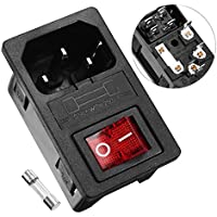 uxcell Red Indicator SPST ON/OFF Rocker Switch 250V 10A w Fuse Holder w IEC320 C14 Power Inlet