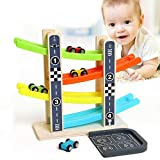 Vovomay Boy and Girl Gifts Wooden Race Track Car- Ramp Racer with 4 Mini Cars Toddler Toy