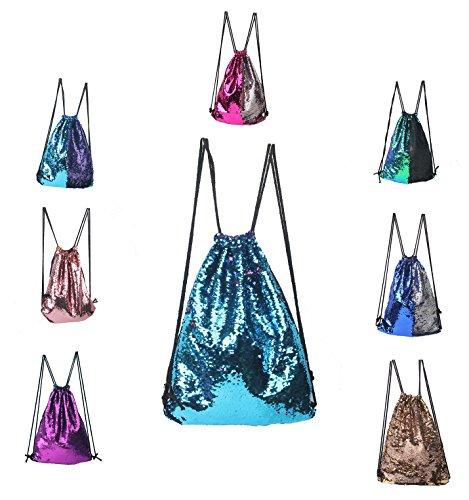 cool nik Fashion Glitter Drawstring Backpack Sequins Mermaid Sequins Magic Reversible Glitter String Bag