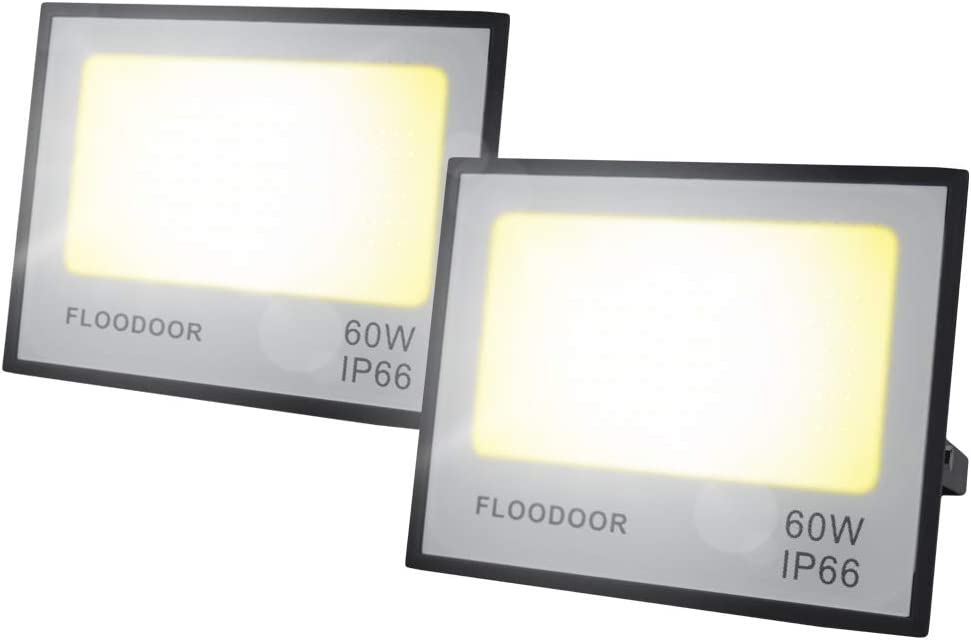 Floodoor 60W LED Flood Light 6000LM 3000K Warm White Floodlight IP66 Waterproof Outdoor Landscape Lights for Lighting of Yard,Garden,Piazza[2 Pack]
