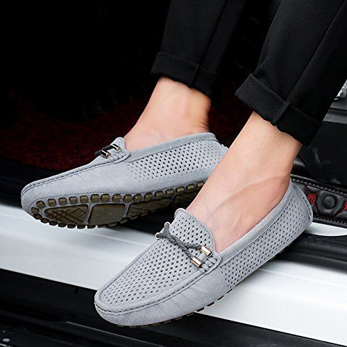Breathable Shoes Suede on Flat Air Loafers Slip Summer Hole Moccasin Driving SUNROLAN Orange Men's Iqx7aw71