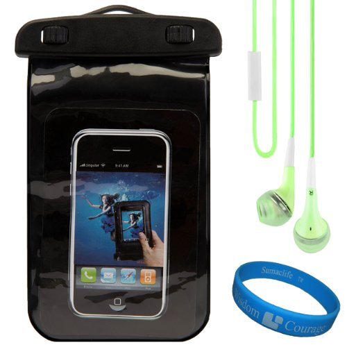 (Black) VG Waterproof & Grime Resistant Sleeve Cover for LG Esteem 4G LTE (LGMS910) Android Smartphone + Green VG Premium Stereo Headphones w/ Bass Enhancement Silicone Ear Tips + SumacLife TM Wisdom Courage Wristband