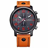 Megadream Men's Sports Classic Casual Quartz Analog 30M Water Resistant Watch, Leather Band Strap and Stainless Steel Case Cover Wristwatch – Brown & Black