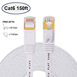 Cat 6 Flat Ethernet Cable 150 ft, Long Internet Cable with rj45 connectors, High Speed White LAN Cable with Clips & Straps