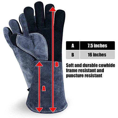 Chengyi Leather Welding BBQ 932°F Heat Resistant Gloves Lab, Safety and Work Gloves for Tig Welder/Grilling/Barbecue/Gardening by ChengYi (Image #2)