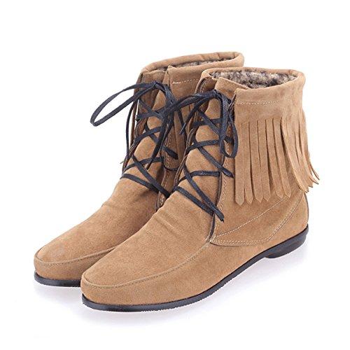 YE Wildleder Schnürstiefeletten mit Fransen Damen FlachHerbst Winterschuhe Short Ankle Boots Braun