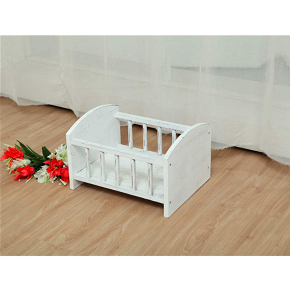 Dvotinst Newborn Photography Props for Baby Posing Mini Bed Cute Wooden Cribs Fotografia Accessorio Infant Studio Shoot Photo Props (White)