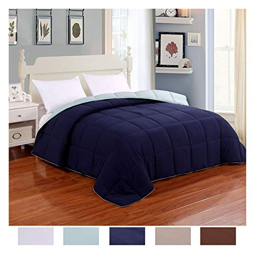 - Homelike Moment Reversible Lightweight Comforter - All Season Down Alternative Comforter Queen Summer Duvet Insert Blue Quilted Bed Comforters with Corner Tabs Full/Queen Size Navy/Light Blue