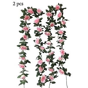 levylisa 2 pcs (16FT) Flower Ivy Garland Artificial Silk Rose Garland 2 Strands Fake Flower Ivy Leaf Vine Plants Home Hanging Wedding Wall Decor 92