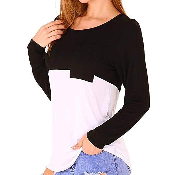 Bestow Cuello Redondo Contraste de Bolsillo Mujeres Casual Color Block Camisetas Cuello Alto Manga Larga Tops