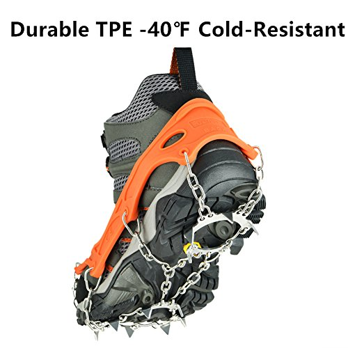 Uelfbaby Micro Spikes Footwear Ice Traction System Safe Protect for Walking, Jogging, or Hiking on Snow and Ice, (13 Spikes/Orange XL) by Uelfbaby
